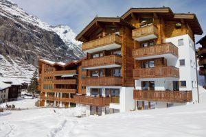 Winter view of the Chez Nous Zermatt building