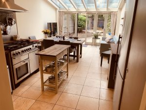 The kitchen has a lovely range cooker, large fridge/freezer and is very well equipped