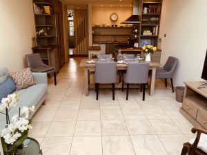 open-plan kitchen/living/dining room from the garden