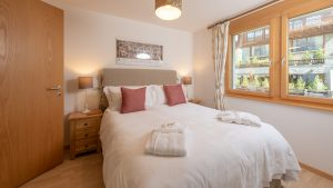 Bedroom 3 has a king sized double bed and can fit a camp bed in it for an extra child